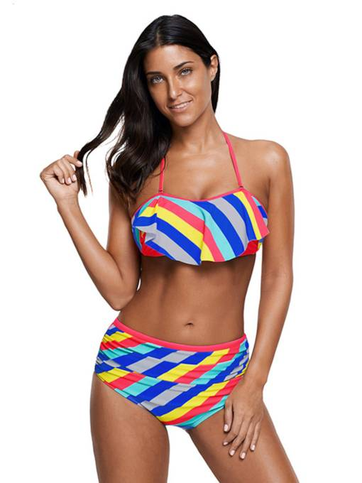 Striped Halter Ruffle High Waisted Swimsuit Women's Bikini Set