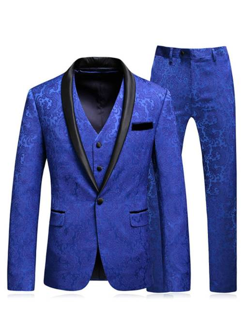 Notched Collar Jacquard Contrast Trim Slim Fit Men's Dress Suit
