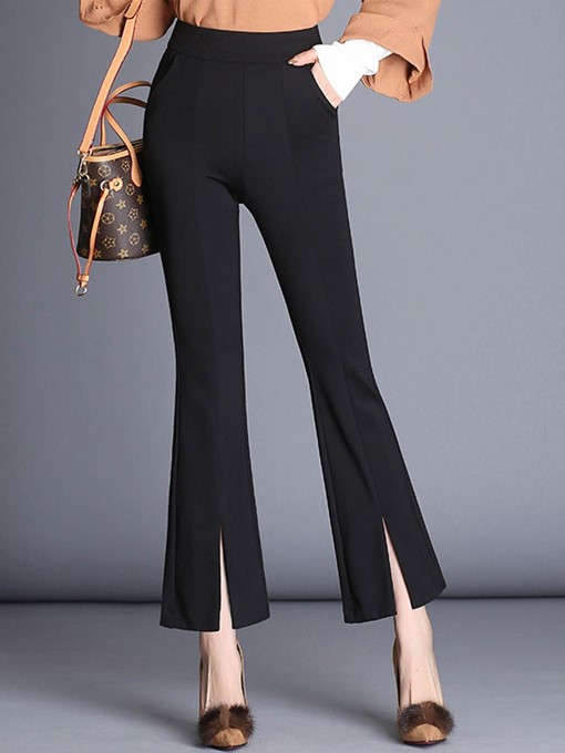 Plain High-Waist Bellbottom Women's Casual Pants