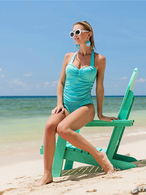 Pure Color Ruffle Halter Women's One Piece Swimsuit