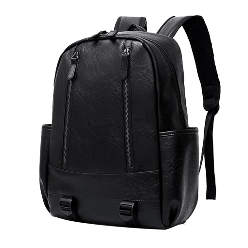 Casual Plain PU Zipper Backpack