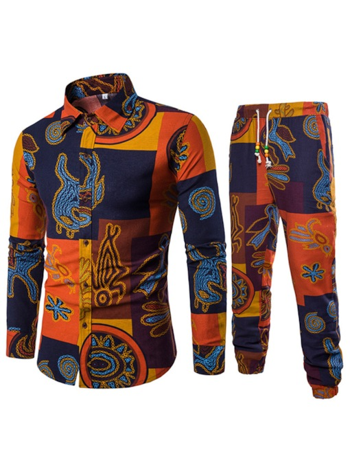 Lapel Ethnic Print Casual Men's Leisure Suit