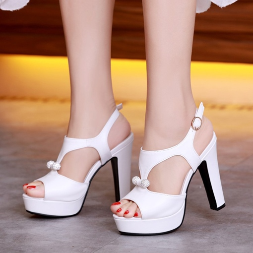 Platform Shoes Rhinestone Buckle High Heel Sandals