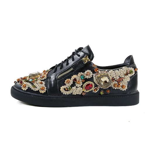 Lace Beads Rhinestone Delicacy Shoes for Men