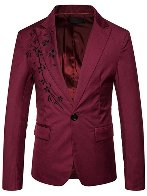 Floral Decorated One Button Men's Blazer