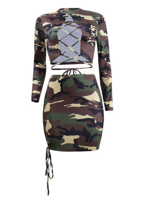 Camouflage Print Hollow Lace-Up Women's Two Piece Set