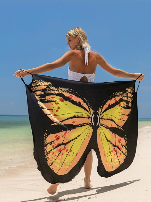 Butterfly Print Beachwear Women's Cover Up