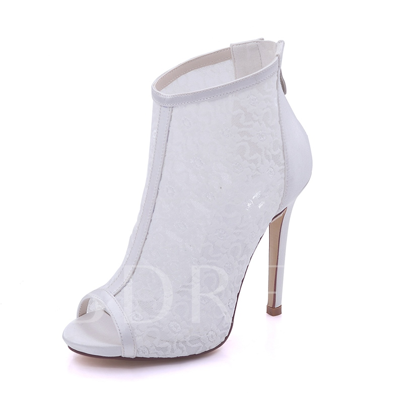 Image of Back Zipper Lace Peep Toe Ankle Booties Wedding Shoes