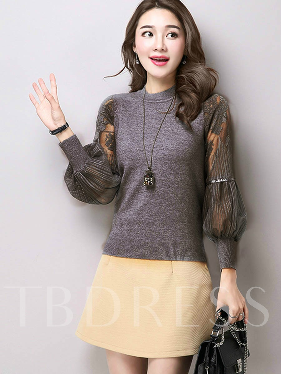 Image of High Collar Lantern Sleeve Womens Knitted Top