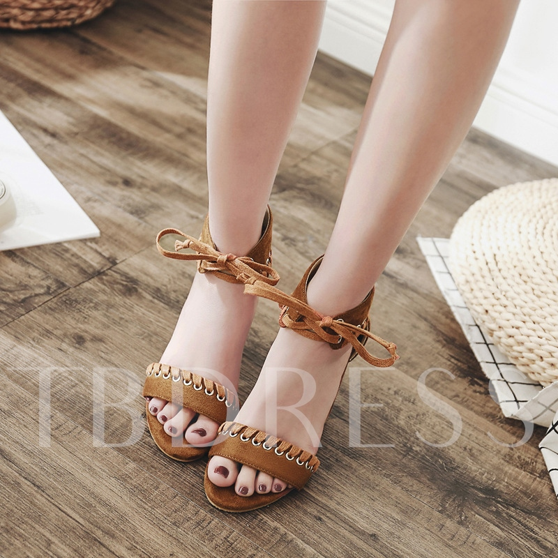 Lace Up Suede Open Toe Chunky Heel Sandals