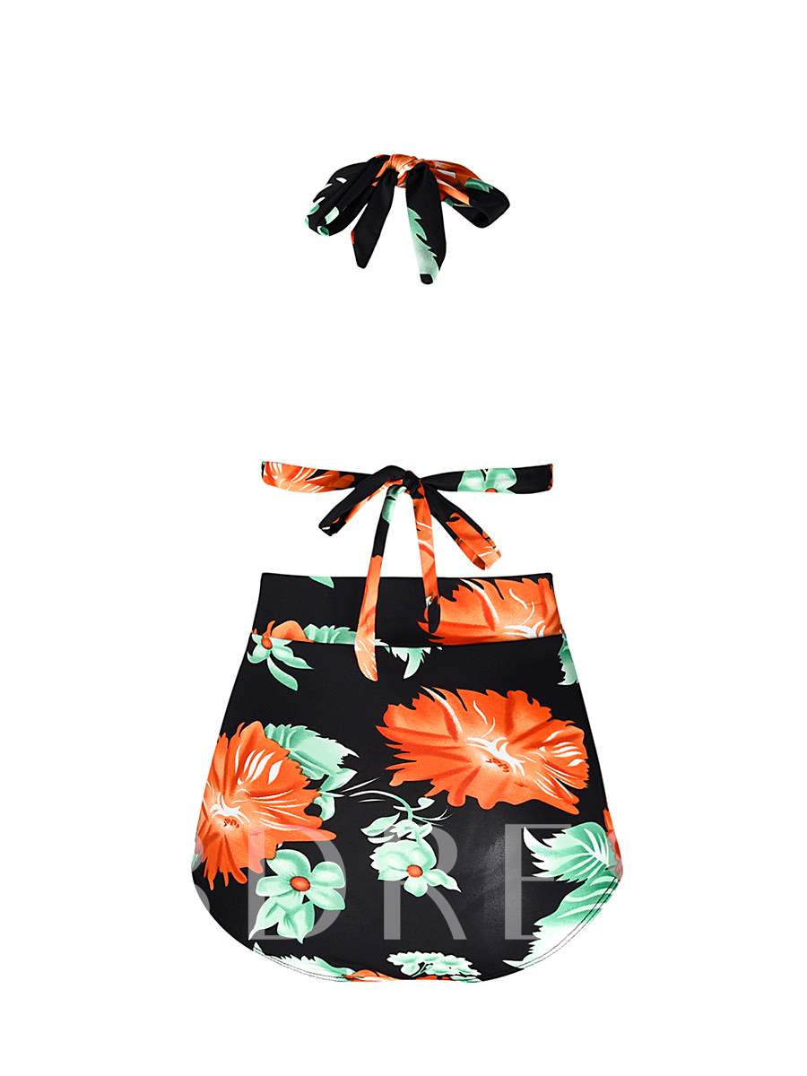 High-Waist Ruffle Bowknot Women's Bikini Set