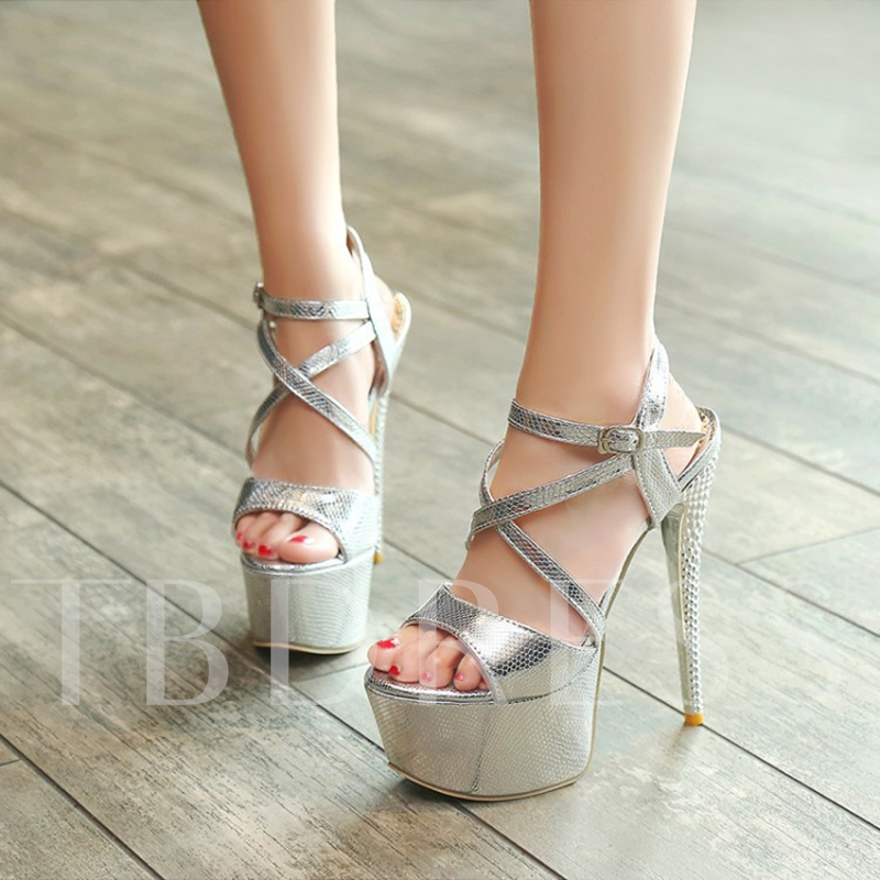 High With Party Shoes Cross Strappy Buckle Sandals for Women