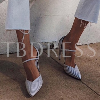 Pointed Toe High Heel Stripe Pumps Prom Shoes