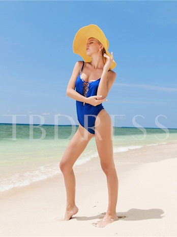 Lace-Up Pure Color Sexy Beach Women's One Piece Swimsuit