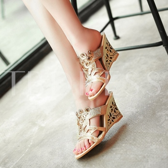 Wedge Shoes Rhinestone Hollow Heel Slipper for Women