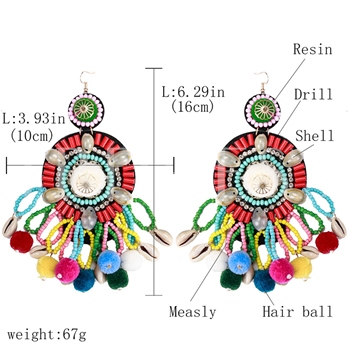 Shell Design Beads Round Earrings