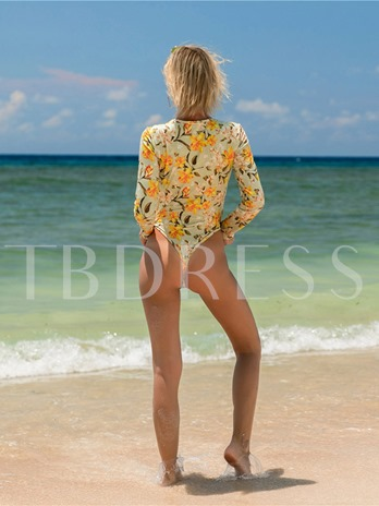 Long Sleeve Beach Floral Print Women's One Piece Swimsuit