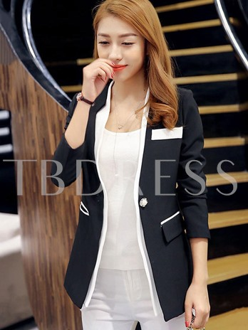 Chic Notched Lapel With Tight Waist Women's Blazer