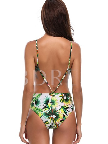 Beach Floral Print Lace Up One Piece Swimsuit