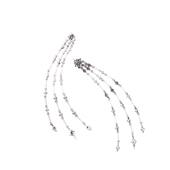 Alloy Tassel Long Rhinestone Earrings