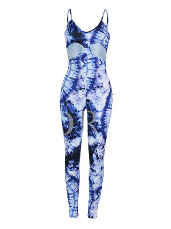 Color Block Skinny Hollow High Waist Women's Jumpsuit