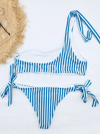 Striped One Shoulder Tie Bowknot Bikini Set