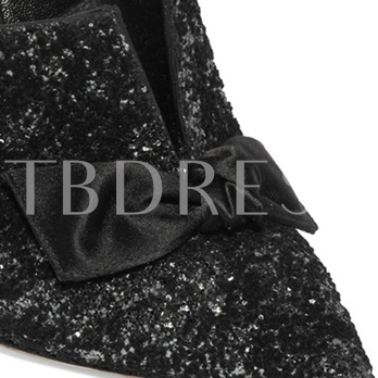 Sequin Pointed Toe Bow Ankle Strap Pumps for Women