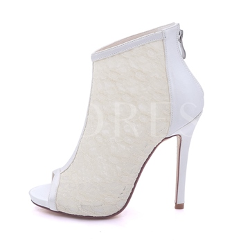 Back Zipper Lace Peep Toe Ankle Booties Wedding Shoes