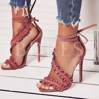 Falbala Plain Strappy Tie Up Heels Sandals for Women