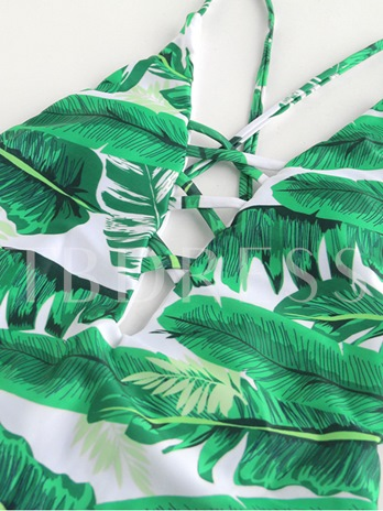 Green Leaves Print Lace-Up Women's One Piece Swimsuit