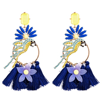 Rhinestone Tassel Bird Shaped Earrings