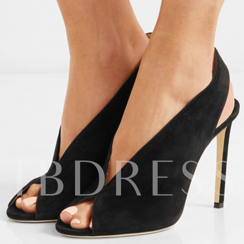 Buy Suede Peep Toe Slip On High Heel Black Pumps, Sheshoe, Spring,Summer, 13210912 for $51.99 in TBDress store