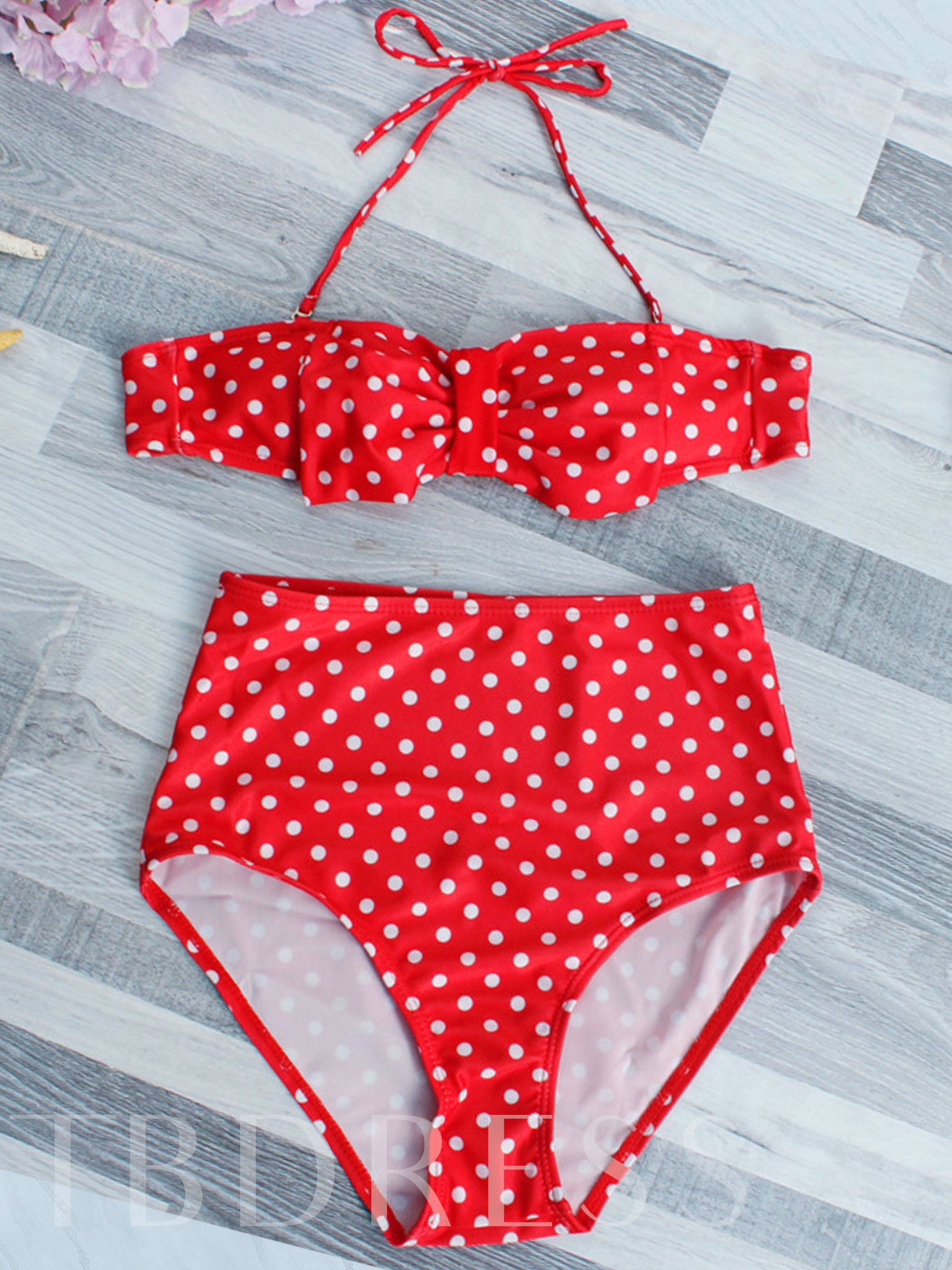 Red Polka Dots Bowknot Bikini Set