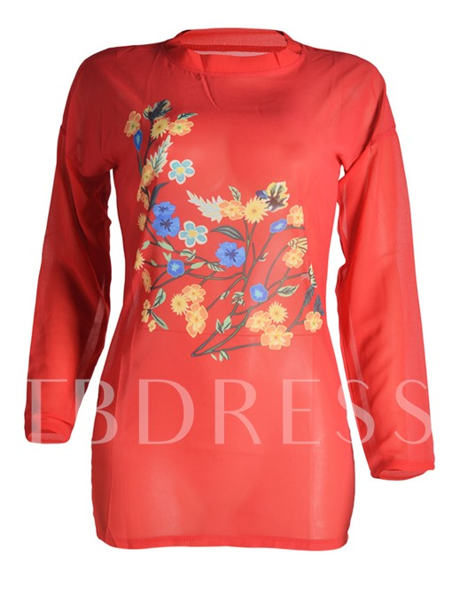 Print See-Through Mid Length Women's Blouse