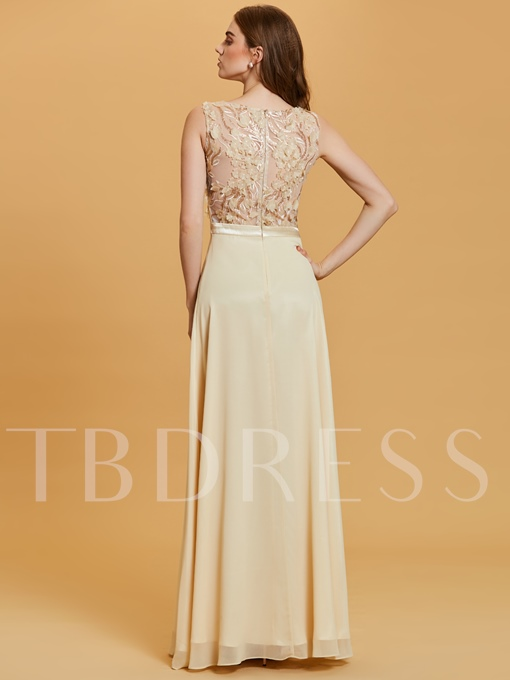 A-Line Sequins Flowers Scoop Evening Dress