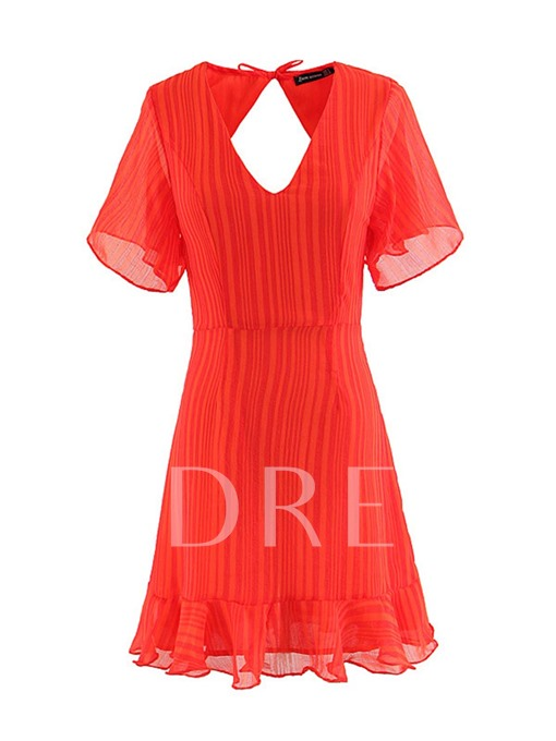 Pleated Open Back Women's Day Dress