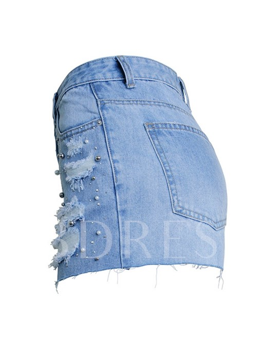 Pearl Beaded Frayed Hem Denim Women's Shorts