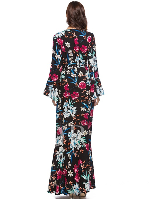 Black Bell Sleeve Floral Women's Maxi Dress
