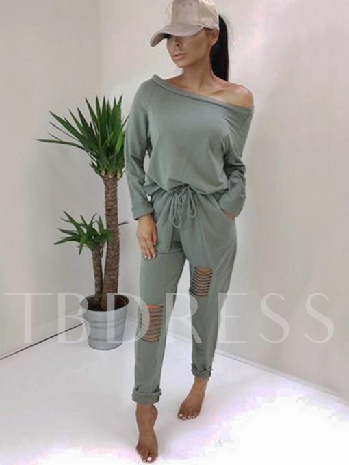 Long Sleeve One Shoulder Off Hole Women's Jumpsuits