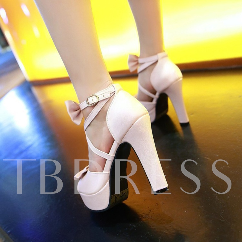 Sweet Bow Buckle High Heel platform Shoes for Women