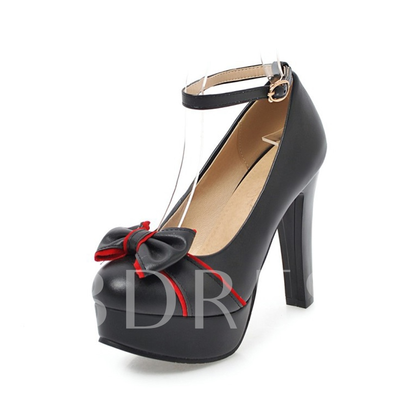 Buy Color Block Round Toe Line Buckle Shoes Bow Pumps, Spring,Summer,Fall, 13214221 for $29.99 in TBDress store