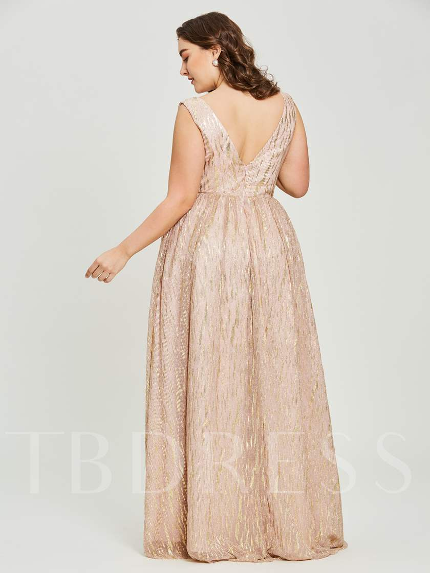 V Neck A Line Gilding Plus Size Evening Dress