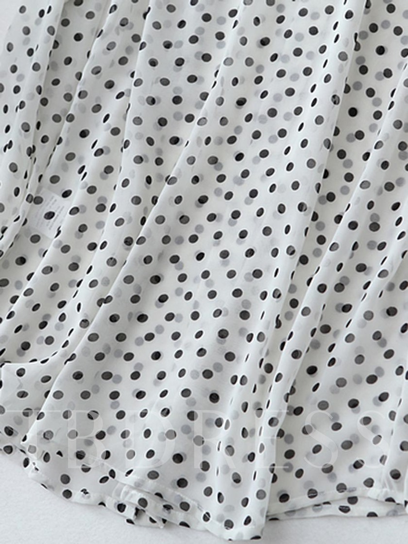 Polka Dot Chiffon Long Sleeve Women's Blouse