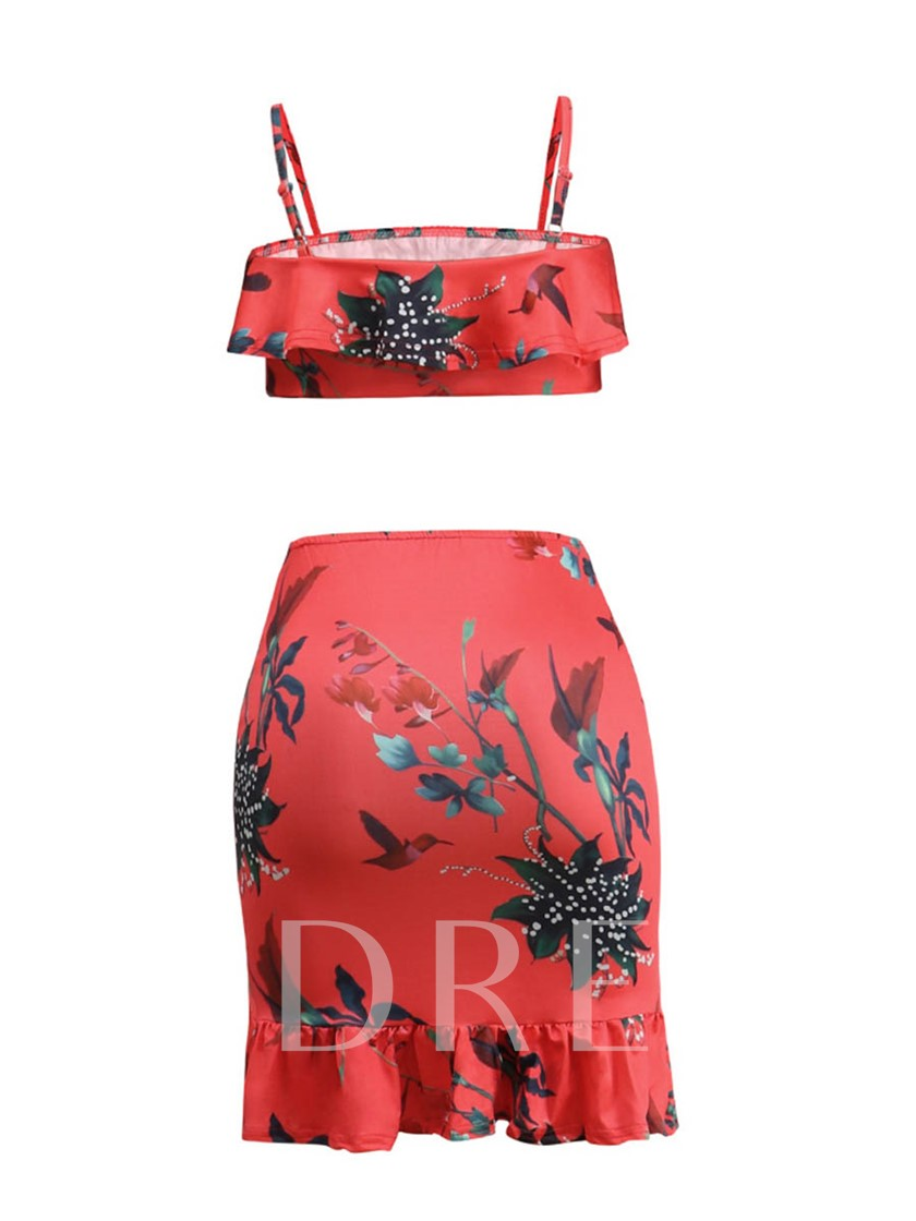 Floral Printed Sleeveless Short Women's Two Piece Dress