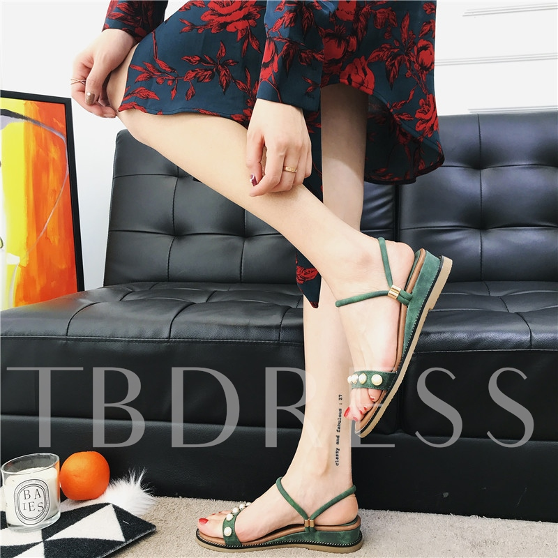 Suede Pearl Slipper Open Toe Sandals for Women