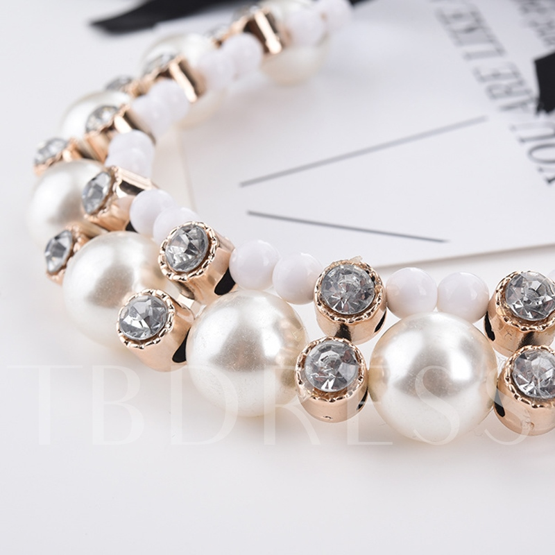 Pearl Ribbon Dazzling Necklace