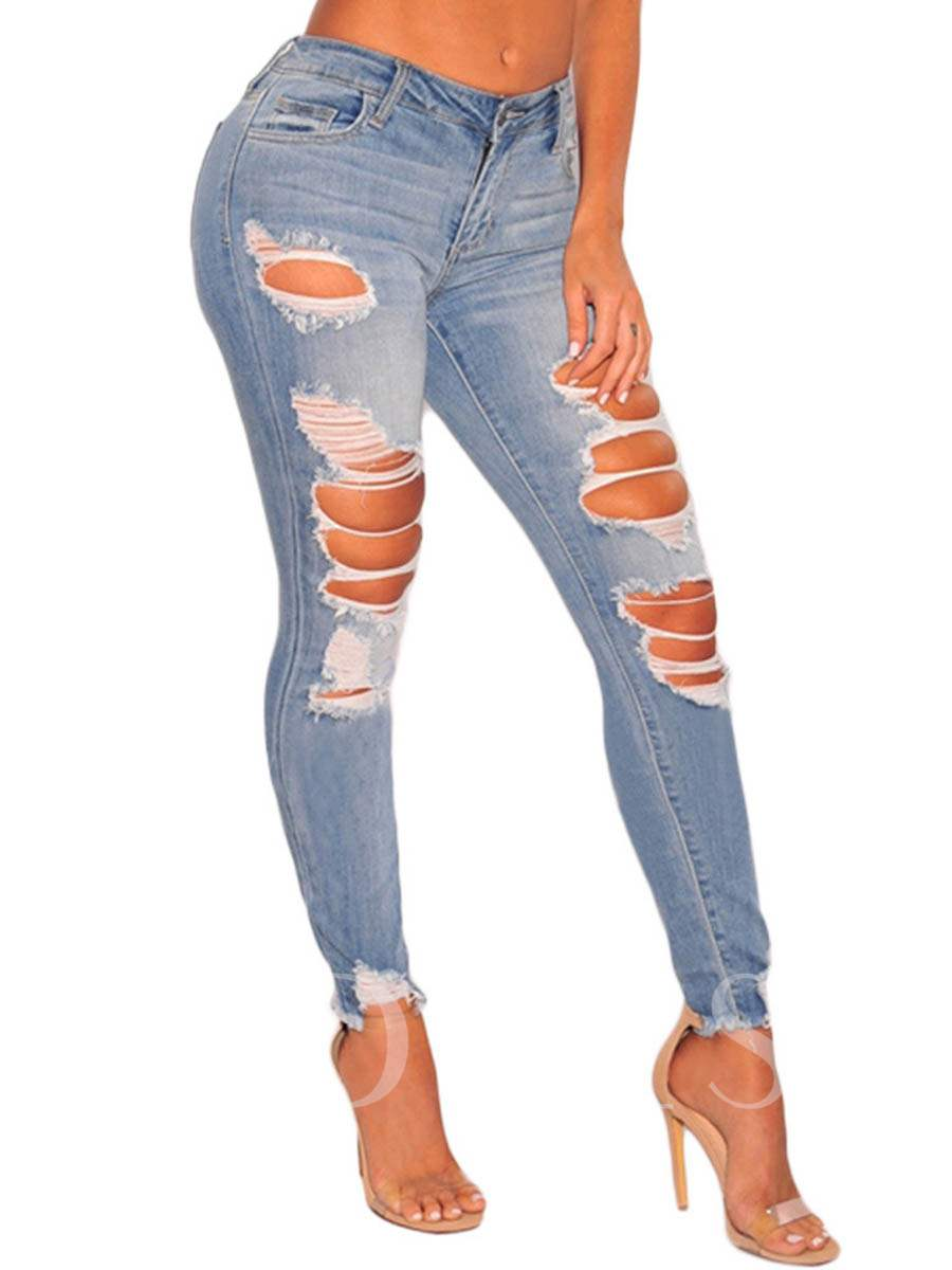 Buy Hole Button Mid Waist Women's Denim Jeans, Spring, 13214845 for $37.99 in TBDress store