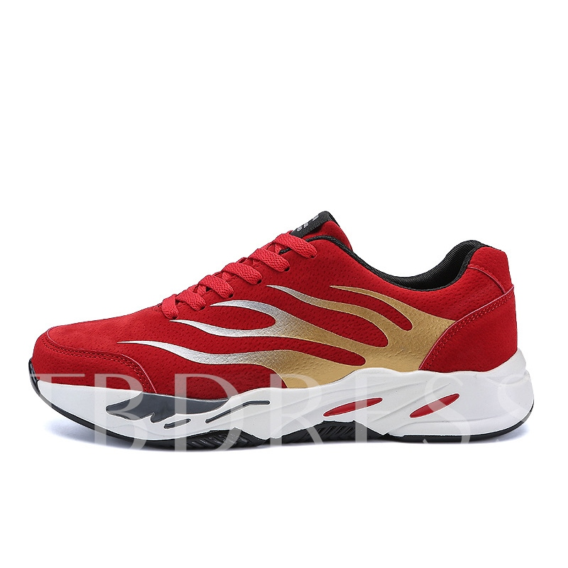Fire Pattern Lace Up Men's Gym Shoes