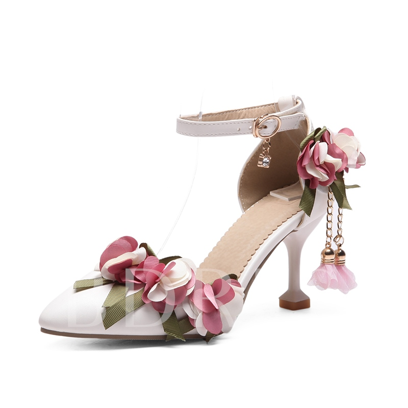 Buy Appliques Flower Line Buckle Women's Sweet Pumps, Spring,Summer,Fall, 13205194 for $40.13 in TBDress store