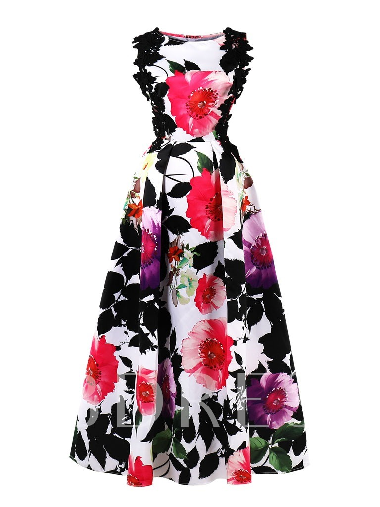 Buy Scoop Neck Printed A Line Prom Dress, Tanpell, Spring,Summer,Fall,Winter, 13212680 for $43.99 in TBDress store